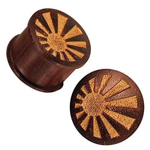 Chic in legno scuro tunnel radiazione oro texture incisione laser verniciato marrone Expander tribale netto 16 mm