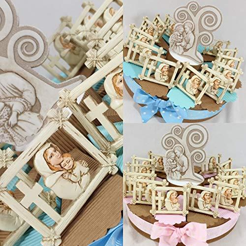 Bomboniere battesimo bimba/o Sacra Famiglia completa di torta e confetti (torta 14 fette 1 piano, femmina)