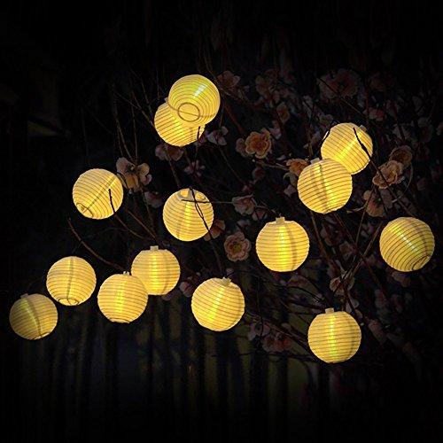 Lanterne Solaire Chaîne Lumières Lumières Globe Extérieur 15,8 pi 20 LED Boules Blanches Chaud Boule de Noël pour le Jardin, Chemin, Partie (blanc chaud)
