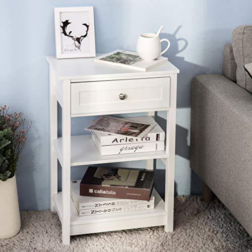 ModernLuxe Beistelltisch Nachttisch Weiß Telefontisch Nachtkommode Nachtschrank Holz Kleiner Tisch mit 1 Schublade und 2 Ablagen BHT ca. 42.5 x 68 x 29.5 cm