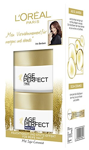 L\'Oréal Paris Anti-Aging Feuchtigkeitspflege, Tag und Nacht Gesichtspflege Geschenkset, Age Perfect gegen Altersflecken