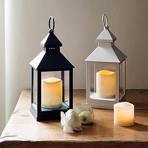 2 Lanterne grigio e bianco con candela LED a pile