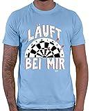 HARIZ  Herren T-Shirt Läuft Bei Mir 2 Dart Sprüche Männer WM Plus Geschenkkarte Himmel Blau XL