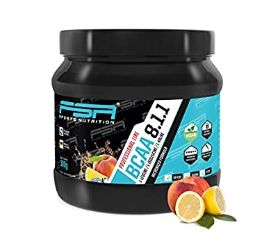 BCAA powder from the German pro sport brand FSA Nutrition® | High-dose amino acids 8:1:1 | Vegan | Low-carb | For fitness, sport, muscle development, bodybuilding and weight loss | Peach Ice Tea by FSA Nutrition