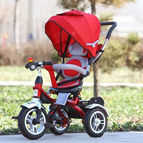 Multifunzione Equitazione Triciclo Per Bambini Triciclo Bicicletta 1-3-6 Anni Grande Bicicletta Con Guardrail Bambino Bicicletta Uomini E Donne Passeggino(Red)