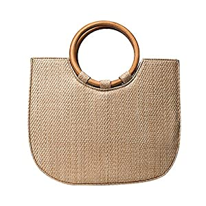 Gereton New Style Woven Strandtasche All-Matched Schulter Unique Messenger Storage Package mit Robuster Handtasche, aus Holz