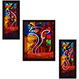 JSOnline Synthetic Wooden Frame UV Digital Print Matte Textured Ganesha Wall Hanging Art Paintings (Multicolour, 13x0.5x26 Inches) - Set Of 3 Pieces