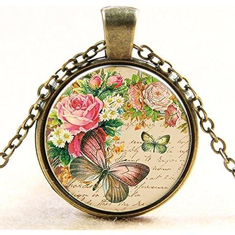 iDealhere 1pc Vintage Vidrio Cabujón Colgante Collar De Cristal Regalos Multicolor (Papillon rose)