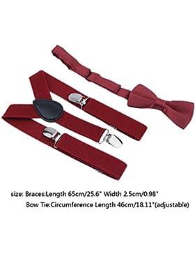 Dailyinshop Tirantes de diseño de poliéster niños y pajarita Bowtie conjunto de corbatas a juego