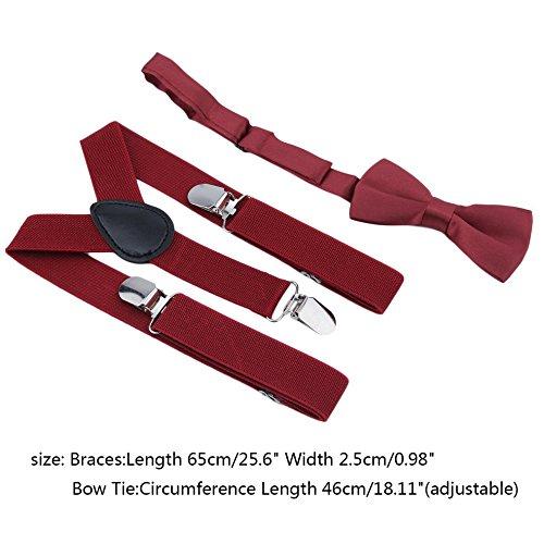 Dailyinshop Polyester Kinder Design Hosenträger und Bowtie Fliege Set passende Krawatten Outfits Dark Red Bow Tie