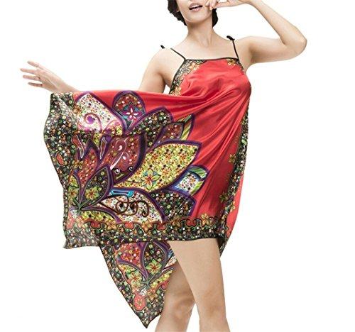 LATH.PIN Vintage Sexy Nuisette en Satin lâche Chemise de Nuit Lingerie imprimé les Fleurs avec Les Bretelle réglable Rouge