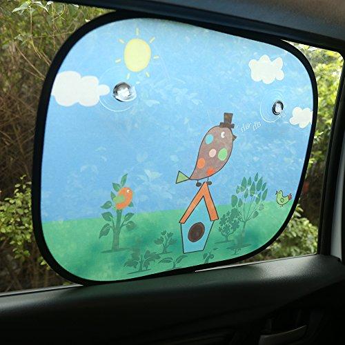 Universell Auto Sonnenschutz Baby IntiPal 2 St. Sonnenblende für Kinder Autosonnenschutz (Vogel) -