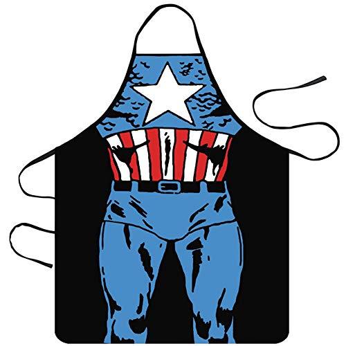 Kostüm Männliche Captain - Mediffen Lustige Küchenschürze Unisex Muscle Male Schürzen Creative Cartoon Schürzen, Black 8-Captain America, Einheitsgröße