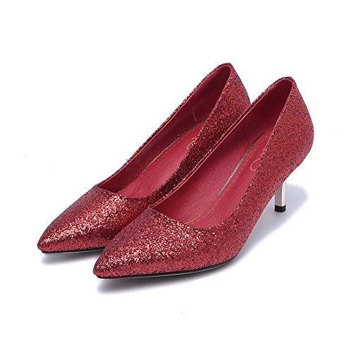 Spitz Absatz Auf Ziehen Rein Mittler Schuhe Rot Damen Material Pumps Voguezone009 Weiches Zehe Exnq8w04