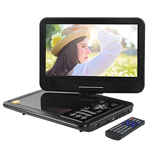 APEMAN 10.5 inch Portable DVD Player Video Mini Car CD Player for kids and Traveling with Remote Control Swivel Screen Rechargeable Battery USB SD Card Reader