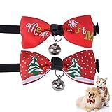 Legendog 2PCS Weihnachtshundebindung Dekoratives Schneeflocke Hundekragen Bogen Partei Haustier Kostüm