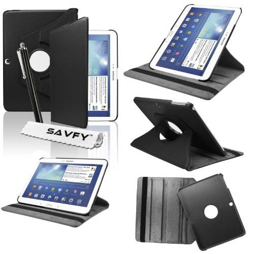 SAVFY Housse Etui Compatible avec Samsung Galaxy Tab 3 10.1Pouces + Stylet + Film D'ECRAN OFFERTS! - 3 en1 Etui de Protection Coque Housse avec Rotation à 360° Multi Angle - Noir