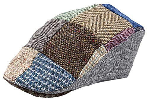 Hanna Hats Donegal Touring Cap Tweed Mütze (Braun Patch, XL) -
