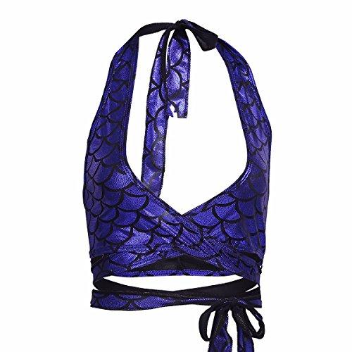 YiZYiF Damen Bikini Oberteile Meerjungfrau Fisch Skala Hologram Stretch Weiches Vest Wetlook Bustier Bra BH Clubwear Gogo Kostüm Blau 2 One - Mermaid Tanz Kostüm