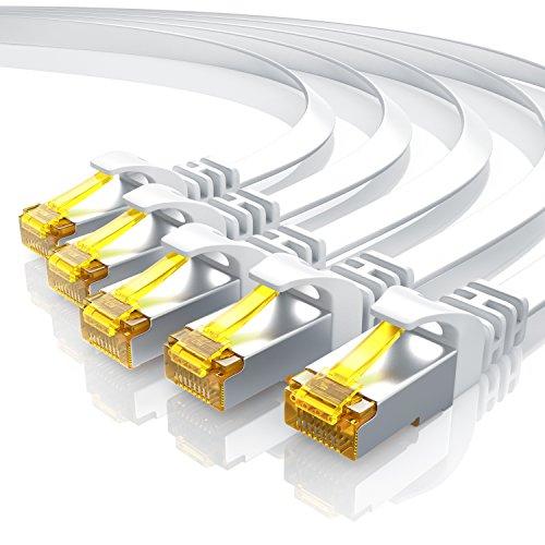 5 x 0,25m CAT 7 Netzwerkkabel Flach - Ethernet Kabel | Gigabit Lan 10 Gbit/s | Patchkabel - Flachbandkabel - Verlegekabel | Cat.7 Rohkabel U/FTP PIMF Schirmung mit RJ 45 Stecker | Switch Router Modem