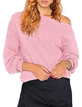 HENCY Mujer Moda Suéter Largo Casual Jersey Prendas de Punto de Cuello Shoulder off Sweater Barco Batwing Mangas...