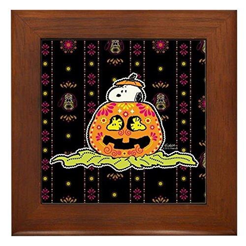 CafePress - Day of The Dead Snoopy Pumpkin - Gerahmte Fliesen, dekorative Fliesen zum Aufhängen (Behandeln Vintage Hund)