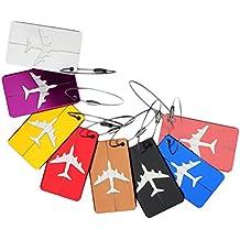 NUOLUX 7pcs equipaje etiqueta aluminio aire plano patrón equipaje bolso ID Tag portatarjetas con llavero