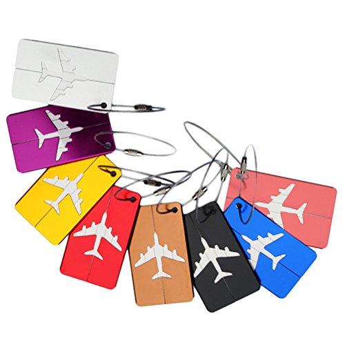 NUOLUX 7pcs equipaje etiqueta aluminio aire plano patrón equipaje bol