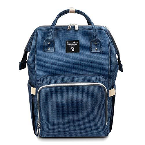 Baby Wickelrucksack Wickeltasche mit Wickelunterlage Multifunktional Oxford Große Kapazität Babyrucksack Kein Formaldehyd Reiserucksack für Unterwegs (Kariertes Blau)