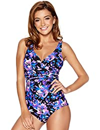 M&Co Ladies Swimwear Purple Floral Print V Neck Tummy Control Swimsuit
