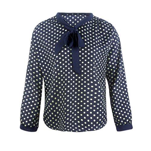 Esailq Femme Manches Longues V-Neck Mousseline de Soie Bowknot Dots Blouse Tops Bleu
