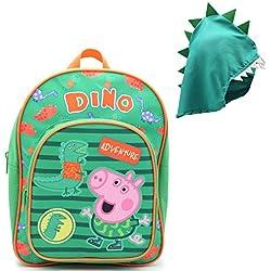 Mochilas Infantiles Niña Peppa Pig Cartera Escolar Niños Niñas George Pig con Capucha Dinosaurio