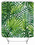 Best Leaf Curtains - Alicemall Banana Leaves Printed Shower Curtain Waterproof Polyester Review