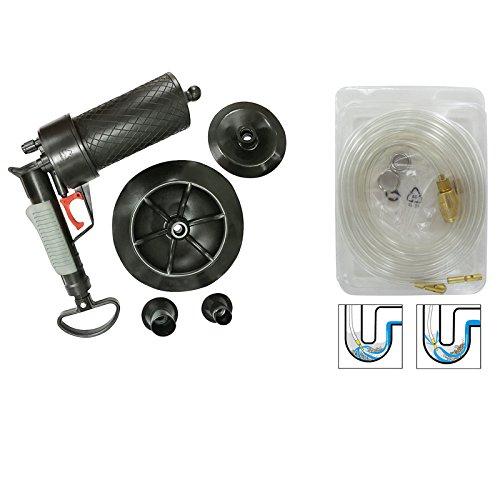 Abflussreiniger Set +Pressluft Rohrreiniger Druckluft Rohrreinigung Abfluss frei