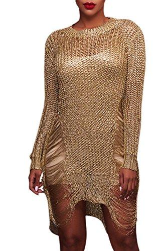 Frauen Im Winter Lange Ärmel Stricken Pullover Hoch Niedrig Riss Hebt Pullover Kleid Golden M (Lange Ärmel Goldene)