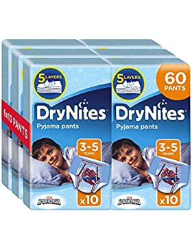 Drynites - Calzoncillos absorbentes, 6 Paquetes de 10 Unidades, talla 3-5 Niño