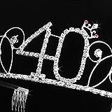 Frcolor Alles Gute zum Geburtstag 40. Silber Kristall Tiara Krone - 4