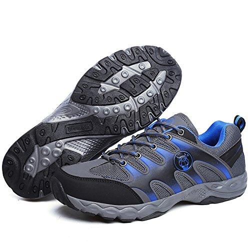 JEDVOO Chaussures de Randonnée Montantes Homme bleu Gris