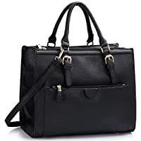 LeahWard Large Size Tote Bags For Women Fashion Ladies Front Pocket Shoulder Handbags Bag 366 (BLACK FAUX LEATHER)