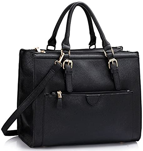 LeahWard Large Size Tote Bags For Women Fashion Ladies Front Pocket Shoulder Handbags Bag 366 (BLACK FAUX LEATHER)