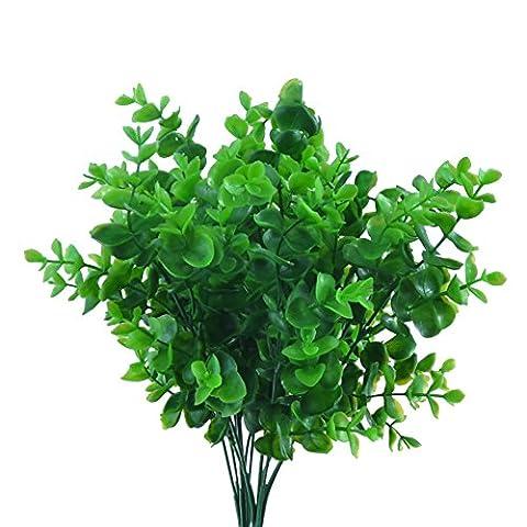 GEEDIAR 2pcs Artificiel Feuilles Arbustes Eucalyptus Herbe Plastique pour Maison Jardin Bureau Étage Verandah Décoration