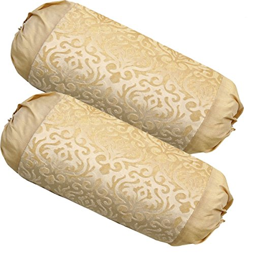 Belive-Me Velvet Beige Bolster Covers (30X60 cm) Set of 2