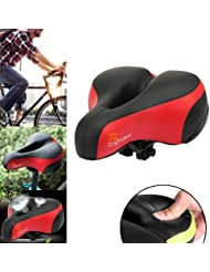 Ondeni Sillín de Bicicleta Gel de Silicona Gruesa y Suave - Negro y Rojo