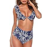 JMETRIC Lässige Mode Blumendruck Damen Schlauch Top Split Einfarbig Badeanzug Bikini Set(Blau,S)