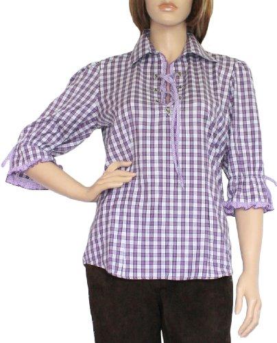 Trachtenbluse Damen Trachten lederhosen-bluse Trachtenmode aubergine kariert, Größe:44