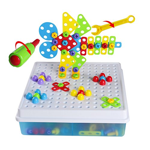 Mosaic Puzzle Construction Set Pegboard Toy 3D Creative Building Blocks with Storage Box Assembly DIY Gift for Kids 3 Years Old Up (189 Pcs)