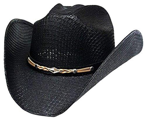 Modestone Unisex Straw Chapeaux Cowboy Leather-Like Hatband Black