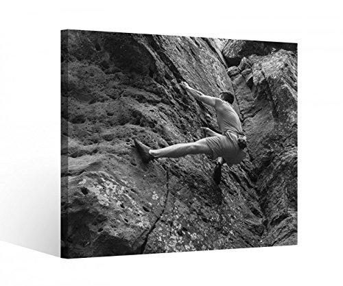 Leinwandbild 1Tlg Freeclimbing Felsen Klettern Extrem Schwarz weiß Leinwand Bild Bilder Holz gerahmt 9U2139, BxH Format:40x40cm