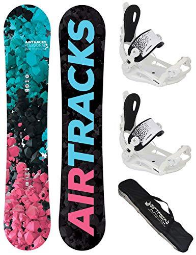 Airtracks Damen Snowboard Set - Board Polygonal 148 - Softbindung Master W M - SB Bag -