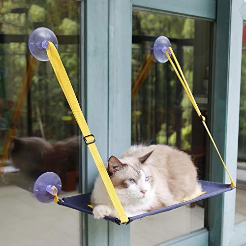 AYADA Katzenbett Hängematte für Fenster, Katzenliege Fensterplatz Cat Hammock Katzenhängematte Wandmontage Cat Window Lounger Katzen Hängematte Katzen Fensterplatz Katzen Fensterliege Bis zu 20Kg